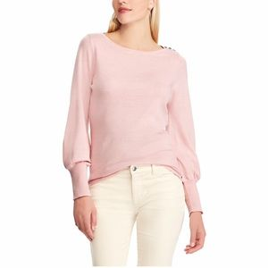CHAPS Button Shoulder Pink Light Weight Sweater L